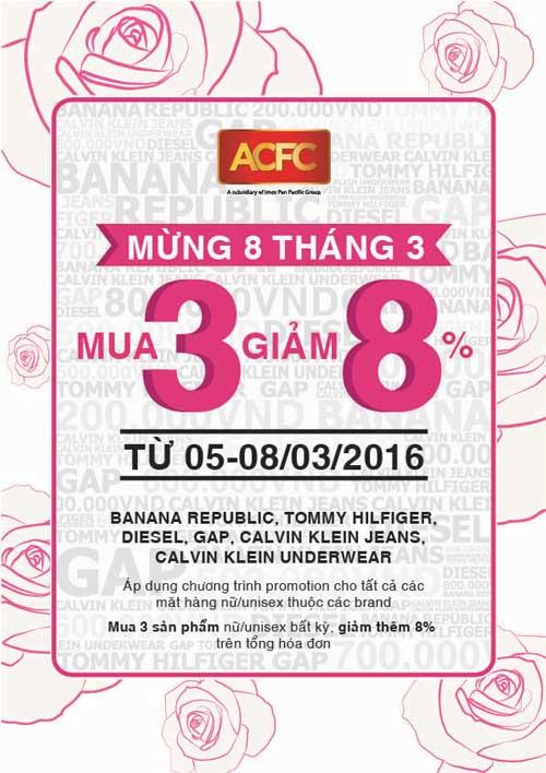 Chương Trình Khuyến Mãi 08 Tháng 03 - 2016 Gian Hàng Cty ACFC