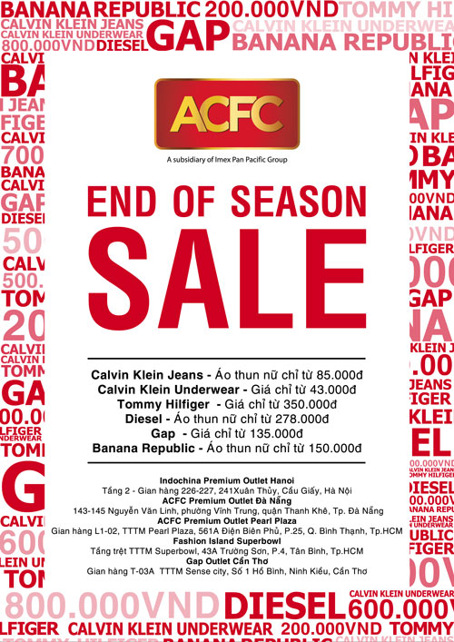 """Chương trình khuyến mãi """"End Of Season Sale"""" của ACFC"""