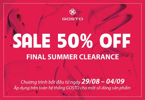 Gosto sale off 50% từ 29-08 đến 04-09-2016