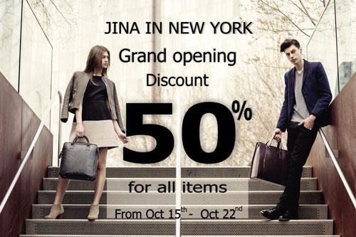 Nhân dịp khai trương Jina in New York giảm giá 50% cho tất cả mặt hàng từ 15/10 - 22/10/2015