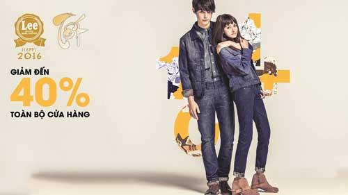 Chương trình khuyến mãi của thương hiệu Lee giảm 40% tất cả các sản phẩm
