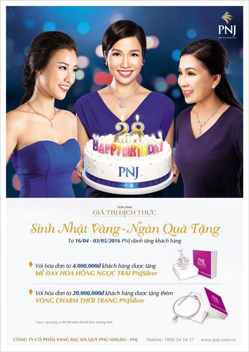 Chương trình khuyến mãi mừng sinh nhật PNJ tròn 28 năm với chương trình tặng quà hấp dẫn
