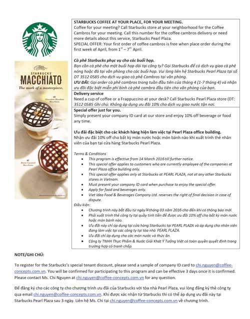 Chương trình khuyến mãi của Starbucks dành cho nhân viên khối văn phòng Tòa nhà Pearl Plaza